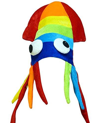 CoverYourHair Regenbogen-Kalmar-Hut - Oversize-Mütze Squid in Regenbogenfarben
