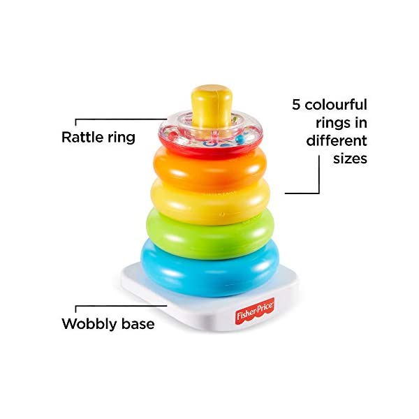 Fisher-Price FHC92 Rock-A-Stack, Baby Educational Stacking Toy Rings, Suitable for 6 Months+ 2