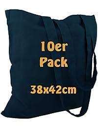 Cottonbagjoe Baumwolltasche Jutebeutel unbedruckt mit Zwei Langen Henkeln 38x42cm (Marine, 10 Stück)