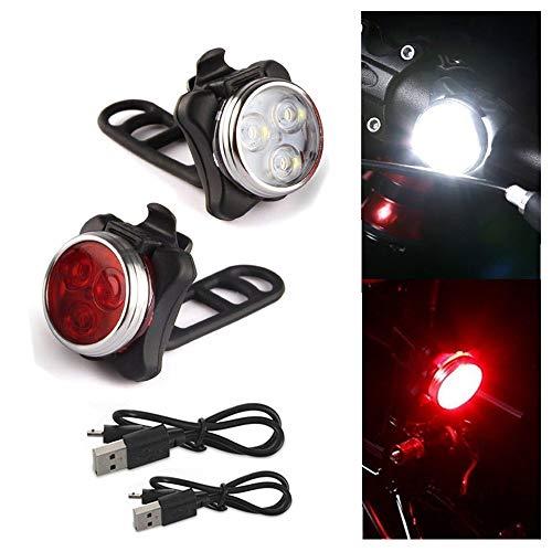 kingko  LED Fahrradbeleuchtung Fahrradlicht, StVZO Zugelassen USB Wiederaufladbare Fahrradleuchte, Fahrradlampe Fahrradlicht, Rücklicht, Aufladbare Fahrradlichter (Schwarz)