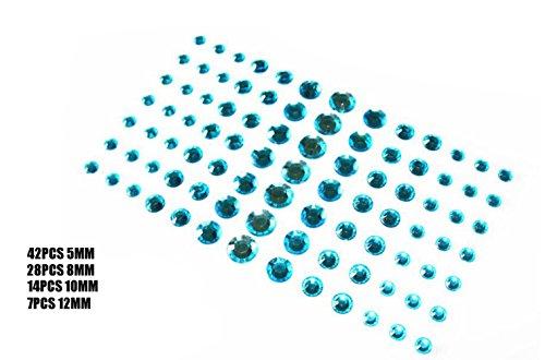 91PCS 4 Sizes Glänzende Selbstklebende Craft Jewels Flatback Augenbraue Lidschatten Körper Augen Nägel Glitter Aufkleber (Blue)