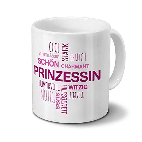 Tasse mit Namen Prinzessin Positive Eigenschaften Tagcloud - Pink - Namenstasse, Kaffeebecher, Mug,...