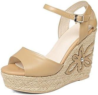 Tacones Altos Adulto Señora Cuero Tamaño 22.0cm a 24.5cm Marrón Amarillento Verano Ligero Heightening Wedge Heel...
