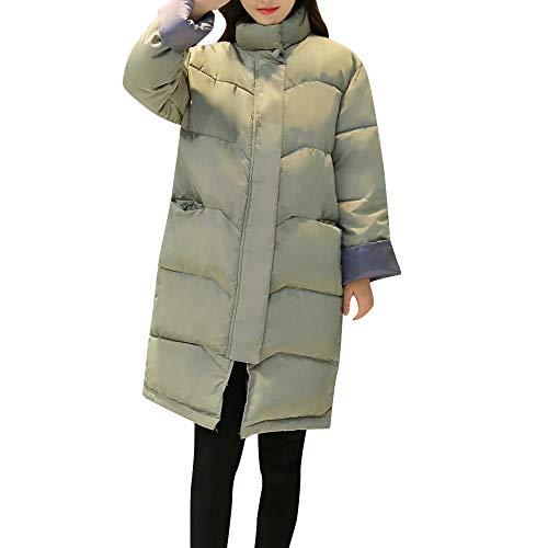 LOPILY Damen Steppjacke Hooded Kapuzenjacke Übergangsjacke Warm Dicke Mäntel Frauen Zipper Winterjacke Quilted Lang Jacke Gesteppt(Green,M)