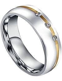 AMDXD 6Mm Pareja Anillo De Matrimonio Acero Inoxidable Hombres Mujeres Promesa Anillos Infinito Cz Amor