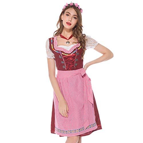 MCYs ❤ Frauen Vintage Beer Festival Bayerische Kurzarm Kellnerin Cosplay Kostüm Kleid -