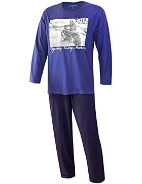 Herren Schlafanzug lang Pyjama lang Herren Schlafanzug Herren HARLEY aus 100% Baumwolle Model MoonLine