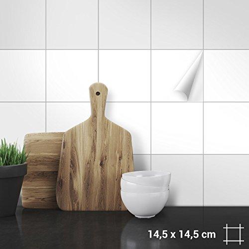 Fliesen Farben (Wandkings Fliesenaufkleber - Wähle eine Farbe & Größe - Weiß Seidenmatt - 14,5 x 14,5 cm - 20 Stück für Fliesen in Küche, Bad & mehr)