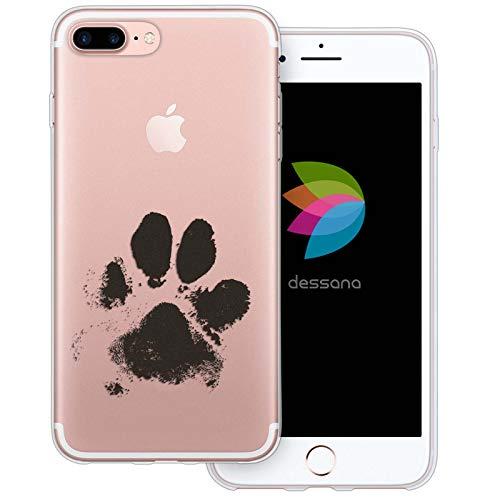 dessana Tier Pfoten Abdrücke transparente Silikon TPU Schutzhülle 0,7mm dünne Handy Tasche Soft Case für Apple iPhone 8 Plus H&e Tatze