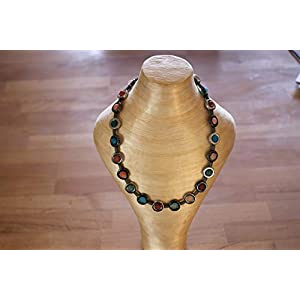 Bunte Kette/Collier mit Hämatit Ringen und echten bunten Schlangen Achat Perlen !! Handmade !! Unikat !!