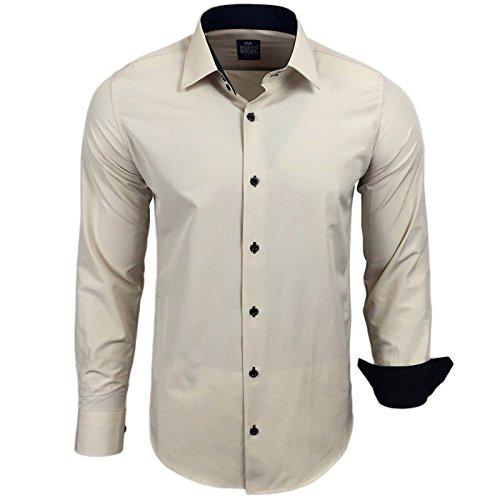 Rusty Neal Camicia bicolore manica lunga unita Uomo Taglio Slim Fit business Marrone