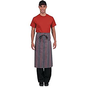 Colour by Chef Works B108 Bistro Apron, Grey/Charcoal/Red Stripe