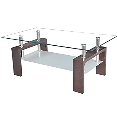 Home Discount® Elise Rectangular Glass Coffee Table, Walnut