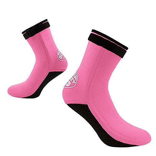 TZTED Neoprensocken 3mm Neopren Socken Schwimmsocken Sandsocken Kälteschutz Socken für Herren Damen,Pink,XL(44~45)