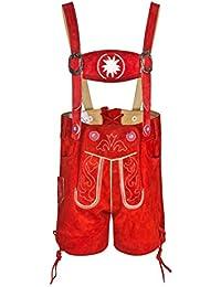 FROHSINN - Kurze Baby und Kinder Trachtenlederhose mit abnehmbaren Hosenträgern - Lederhose in rot und braun