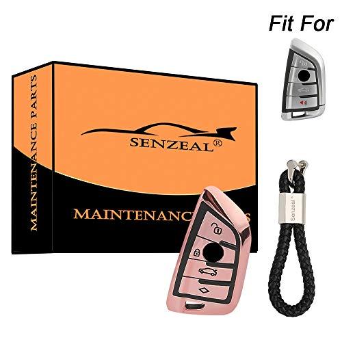 senzeal TPU Car Key Cover Protector pour b m w 1 Series 2 Series 5 Series G30 G38 x1 x3 x5 x6 M5 M6 avec PU Braided Key Bracelet Rouge/Bleu/Argent rose