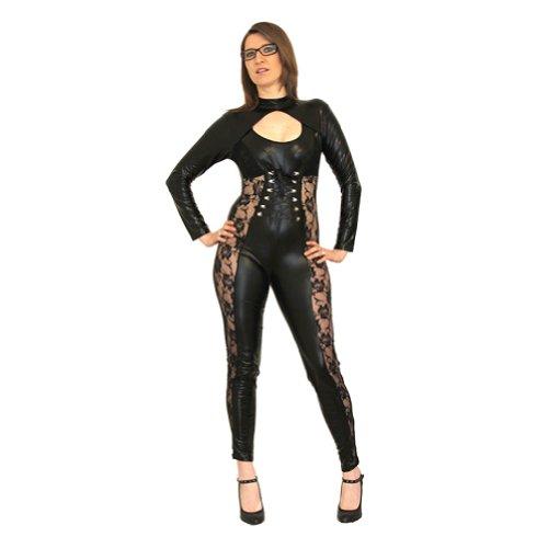 r Fetisch Catuit Punk BDSM mit Spitze verzierte Bodys Gr. Einheitsgröße, Schwarz - Schwarz (Glam Punk Kostüm)