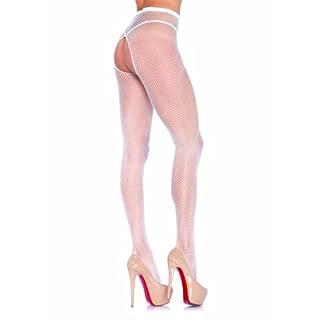 Leg Avenue 1404 - Crotchless Fishnet Pantyhose, Einheitsgröße, Weiß