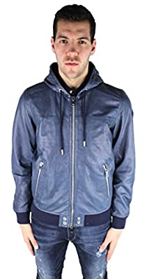 DIESEL - Jackets - Men - Navy L Collins Hooded Leather Jacket for men by DIESEL