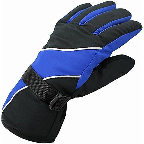 IKuaFly Guanti da Sci Impermeabile a Prova di Vento Gancio di Collegamento - Invernali Moto Cotone Vello Neve Outdoor Gloves (blu)