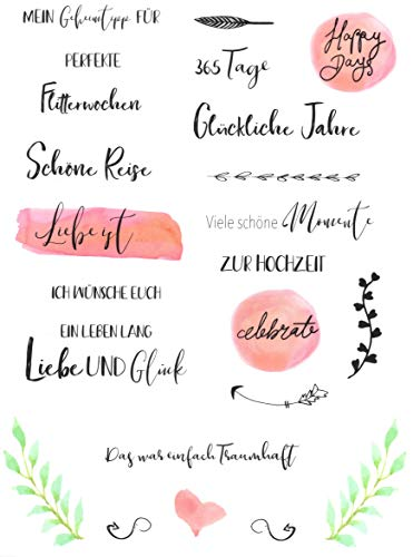 Hochzeits Sticker (Watercolors & Handlettering Design)   133 Stück - 4