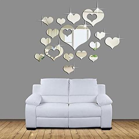 Melumber Kreative Wandsticker Wandspiegel Herz DIY Wandtattoo Aufkleber ,Silber