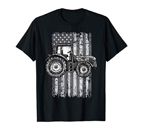 Tractor Farmer USA American Flag T-Shirt