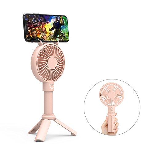 Handventilator, GAVAER Handheld Mini Fan mit 2000 mAh Akku Batteriebetrieben, LED-Licht und Stativ Basis USB Ventilatoren für Haus, Büro, Reisen und Outdoor ( Rosa )