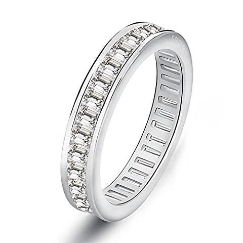 Orsa Jewels Crystal Silver Eternity Engagement Ring White Gold Plated with Invisible Setting CZ Wedding Band for Women Size J½
