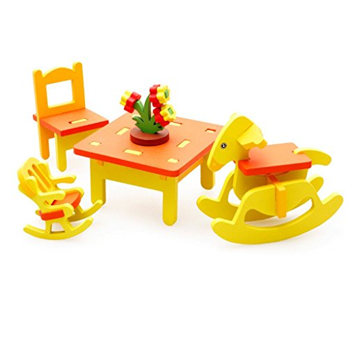 Imported 3D DIY Dolls House Assembly Furniture Toys-Nursery Table and Chairs
