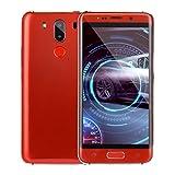 samLIKE Günstig Ohne Vertrag Smartphone 1GB + 4GB GSM Quad-Core 5,0 Zoll Ultra-HD-Bildschirm Handy Ultradünn Android 6.0 Cell Phone, mit Dual-Kamera + Dual-Sim, 3G + WLAN (Rot)