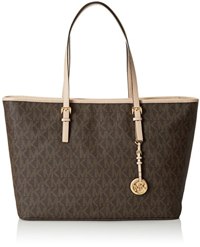 Michael Kors Damen Jet Set Travel Medium Top-Zip Multifunction Schultertasche, Braun (Brown Signature) One Size (Michael Kors Geldbeutel Und Handtaschen)