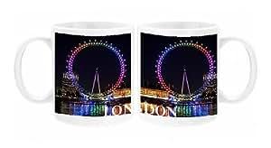 Mug Photo de Souvenir de la roue du millénaire/London Eye, Angleterre, lumineux en arc-en-ciel