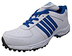 PORT Mens Booster White PVC Cricket Shoes(Size 10 UK/IND)
