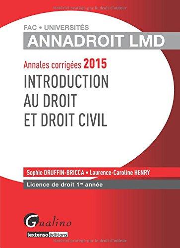 Introduction au droit et au droit civil 2015