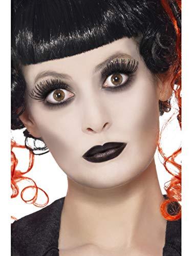 Halloweenia - Damen Gothic Make Up Set Kit mit Schminke Wimpern und Lippenstift, Kostüm Accessoires Zubehör, perfekt für Halloween Karneval und Fasching, Mehrfarbig -