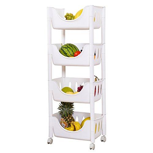 impr3Baum Multi-Funktion Verstellbar Warenkorb Obst Brot Korb Regal Küche Aufbewahrung Regal Rack 4-Tier weiß -