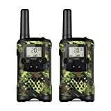 Hicool Digital Walkie Talkies with Flashlight for Kids Long Range Mini 2 Way Radio 0.5W 8 Channels LCD Screen for Supermarket/Home/Indoor or Outdoor Activity ( Camo Green, 2 Units )