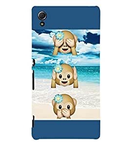 Three Monkeys 3D Hard Polycarbonate Designer Back Case Cover for Sony Xperia Z4