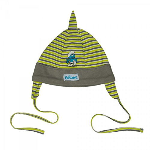 Hello Kitty oder Schlümpfe Mütze mit Ohrenschutz und Bändchen Baby Mädchen Jungen | Grün | Größe 86/92 (Kitty Sweatshirt Mädchen Hello Für)