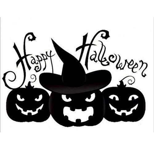 dryujdytru Hexe und Kürbis Entfernbarer Halloween DIY Wandaufkleber für Kinder Halloween-Party Klassenzimmer Kinder Zimmer Dekoration Kürbis für Wohndeko - Schwarz