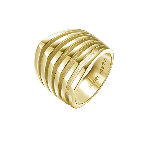 Joop! Damen-Ring JP-T LINES Edelstahl teilvergoldet Gr. 57 (18.1)-JPRG10645B180 (Design T-line)