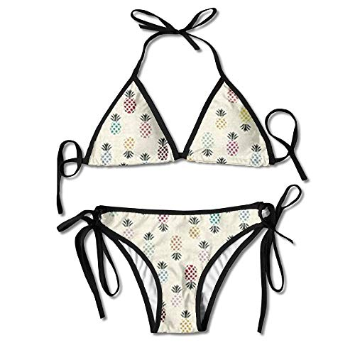 f15ce6288b Fashion Flamingo Fever Pineapple Women Swimwear Bandage Bikini Set Push-up  Padded Bra Swimsuit