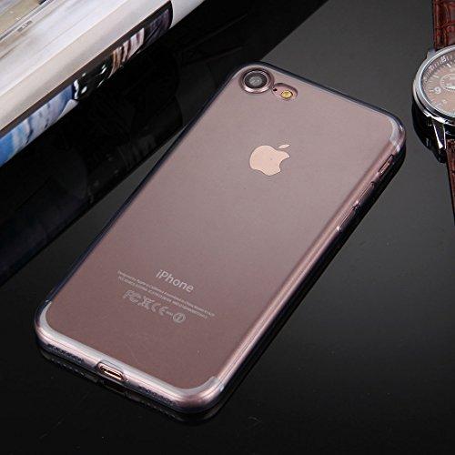 GHC Cases & Covers, Für iPhone 7 0.5mm ultra-dünner dunkler Farben-transparenter TPU schützender Fall ( Color : Black ) Black