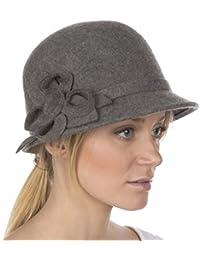 Sakkas Womens Bernadette Vintage Style 100% lana Cloche Bucket Winter Hat  con accenti floreali ecc2ab0bbd5f
