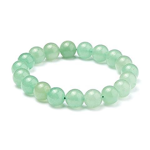SUNNYCLUE Natural Genuine Green Aventurine Jade Gemstones Bracelet Stretch 10mm Round Beads about 7