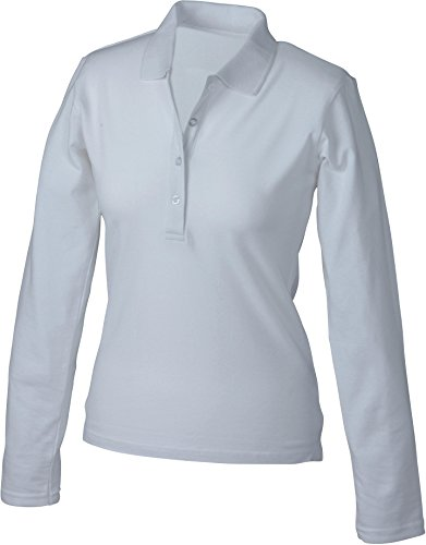 James+Nicholson Damen Damen Stretch Piqué Polo langarm JN180 White XL (Polo Damen Stretch Piqué)