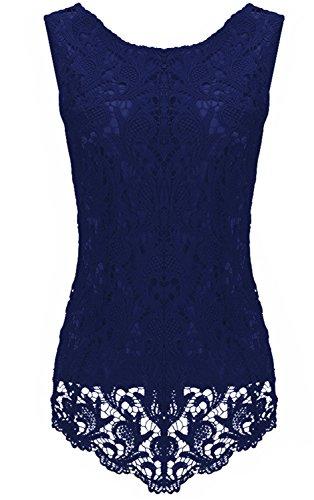 Moda Senza Maniche a fiori floreale Lace Overlay Spliced Hollow Out smerlato Hem Vest Canotte e top Cami Shirt Camicia Peplum Peplo Top Navy blu
