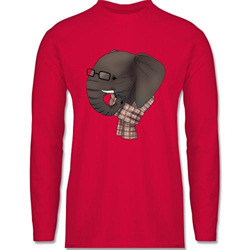 Shirtracer Hipster - Hipster Elefant - Herren Langarmshirt Rot