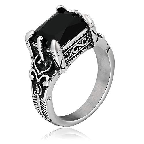 Adisaer Ring Herren Osmanisch Vintage Ringe Feder Mter Rechteckige Form Daumenring Edelstahl Schwarz -